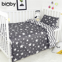 3PCS Baby Bedding Set Reversible Printing Cotton Duvet Cover Flat Sheet Pillowcase Nursery Bed Baby Crib Bedding Sets 4 Style