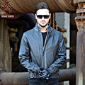 2017 Men Vintage Black Leather Jacket Real Cowhide Stand Collar Short Slim Fit Men Winter Casual Coat Size XXXL FREE SHIPPING