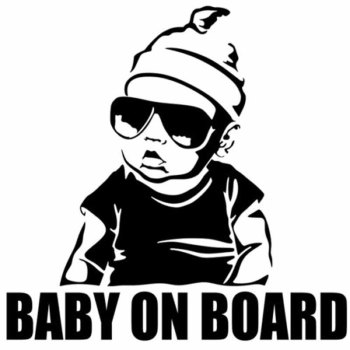 15.5*15.2CM BABY ON BOARD Creative Fashion Car Sticker Tail Warning Sign Decal C4-0891  grille