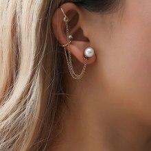 simulated pearl ear clip on earrings for women cuff tassel earcuff gothic cuffs pendiente de