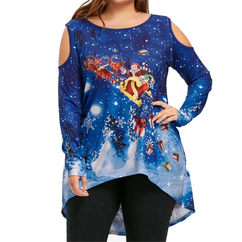 New 4XL Plus Size Christmas T Shirt Women Autumn One ...