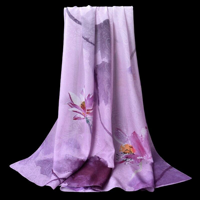 100% Real Silk Hijab Scarf Women 2019 New Shawl Wrap Scarves for Ladies Luxury Chiffon Pashimina Soft Print Neckerchief Stoles