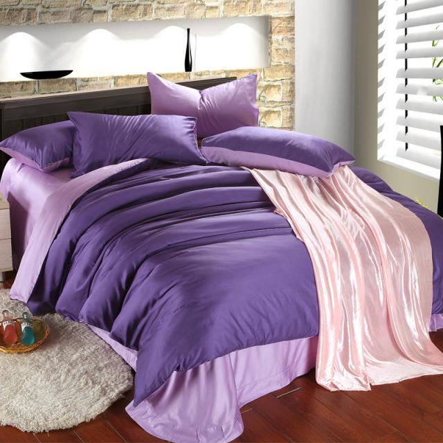 luxury purple lilac bedding set queen duvet cover king size double bed in a bag sheet