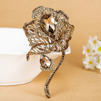 Big Flower Brooches Pins For Women Evening Party Jewelry Brand Rhinestone Crystal Pin Brooch Fashion Women