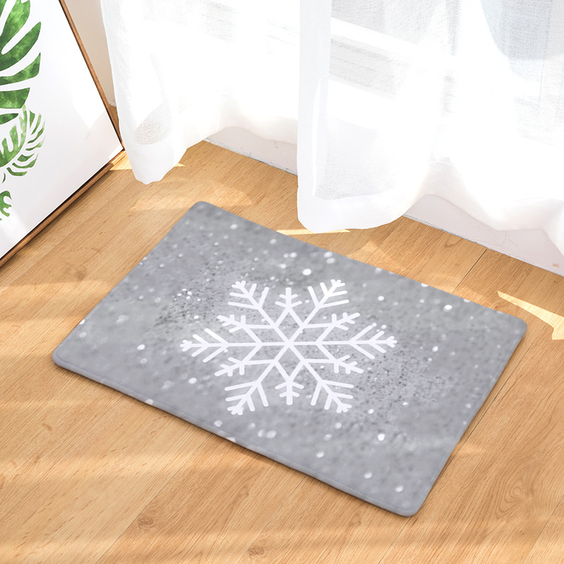 Geometry Psychedelic Nowflake White Trees Kitchen Mats Christmas Farmhouse Houseware Living Room Decoration Rug 40-60 cm Carpets image