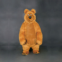 OISK 3M Grizzly Bear Mascot costume long fur plush adult Size with Air Blower people can walk inside