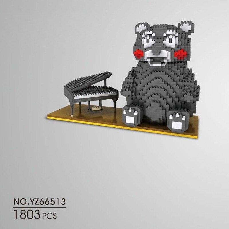 Belle image de bande dessinée japon micro diamant bloc de construction Kumamon ours noir piano nanoblcok briques assemable jouets pour enfants cadeaux