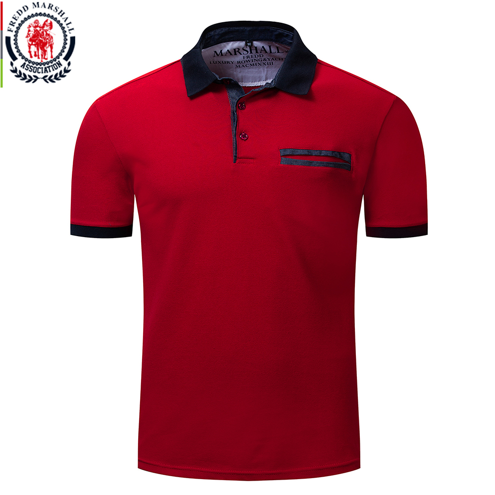 Fredd Marshall 2019 New 100% Cotton Polo Shirt Men Casual Business Solid Color Polos High Quality Short Sleeve Polo Shirts 038Polo   -