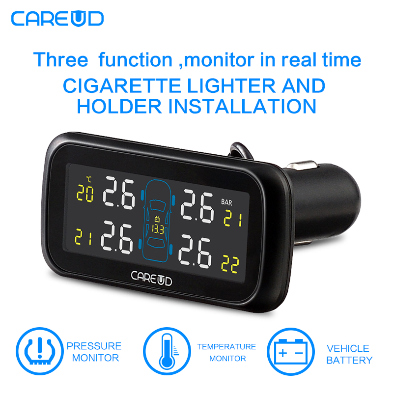 TPMS Tire Pressure Monitoring System Diagnostic-tool Tire Pressure Alarm cigarette lighter temperature DIY PSI Bar CAREUD 903 hotaudio tpms app car tire pressure monitoring system car tire diagnostic tool support bar and psi