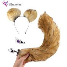 Купить с кэшбэком 2018 New Cosplay Fox Tail Ears Set  No Vibrator Metal Anal Plug Fox Tail Deformable Fox Tail Butt Plug for Couples Flirting