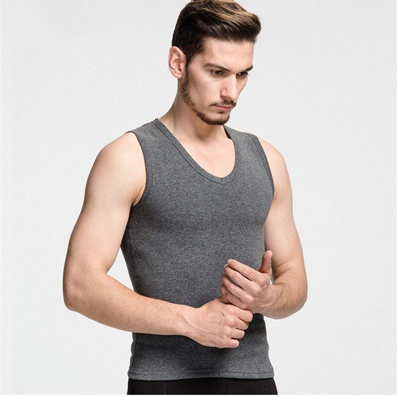 Winter Warm   Tank     Tops   Undershirts Mens V-Neck   Tank     Tops   Sleeveless Ultra Soft Loose Large Size Underwear Vest Thick Plus Velvet