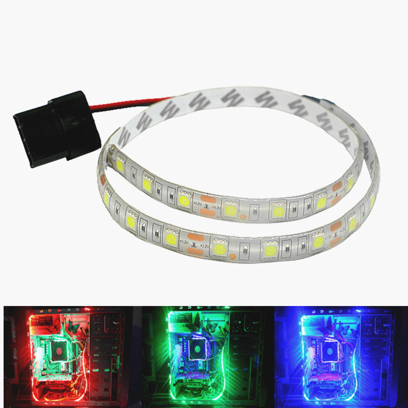 50cm 1m 2m Magnetic LED Strip Light PC Computer Case Magnetic Strip Light SATA Power Supply Red Blue Green Yellow White Pink 12V