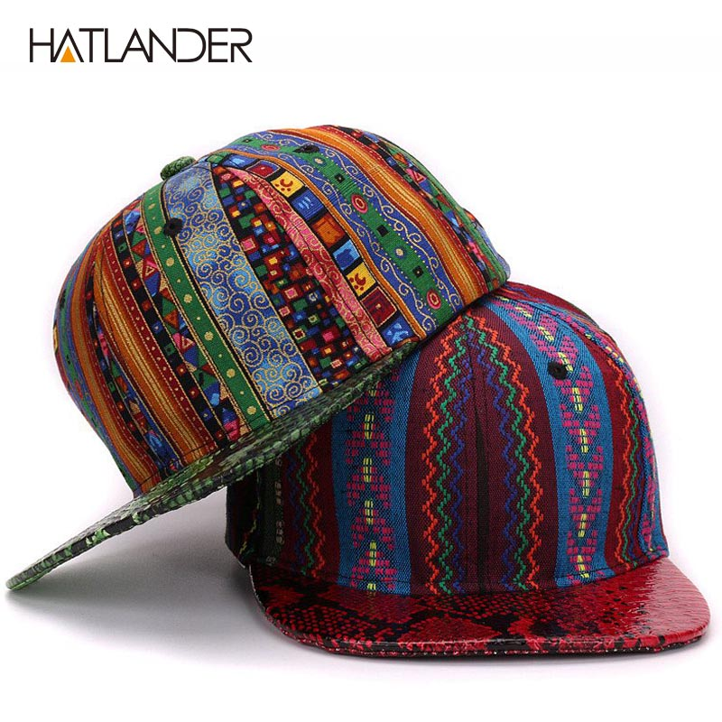 HATLANDER 2017 leather Snake skin   baseball     caps   flat brim bone snapbacks sports hats casquette outdoor hip hop   cap   for men women