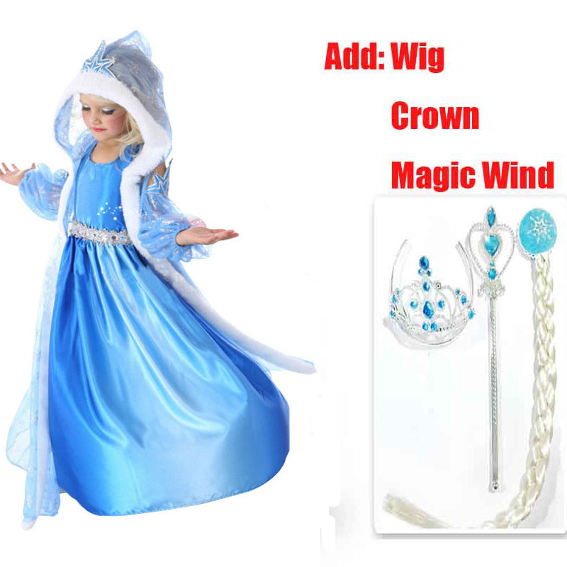 baby toddler girl princess dress&Sleeve Sweater kids wedding party dresses costume Wig Crown Set For party summer Girls Dresses