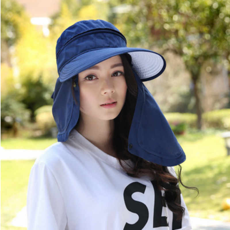 89a905d141c83 Which in shower Lady Large Brim Removable UV Protection Beach Sun Hat  Panama Blank Neck Face