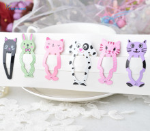 6PCS Lot New Little Girl Cute Cartoon Animal Barrettes Kid Headwear Hair Clip Children Gift Hair Accessories Snap Clips Hairpins cheap Fashion Solid gootrades Girls alloy