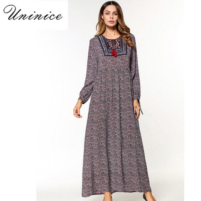238d90f625e515 Casual Maxi Muslimischen Kleid Drucken Abaya Stickerei Lange Robe Kleider  Lose Ethnischen Stil Nahen Osten Marokkanischen