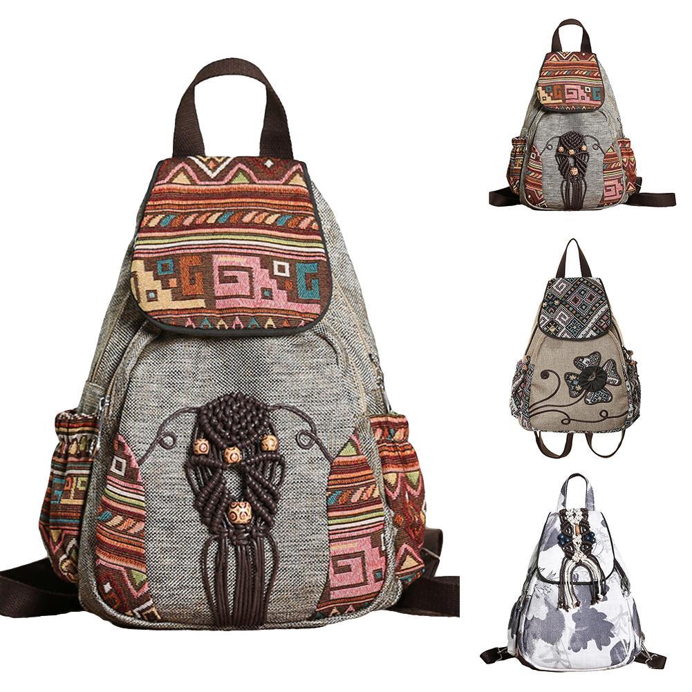 Ethnic Embroidery Flower Woven Beaded Tassel Flap Women Backpack Shoulder Bags