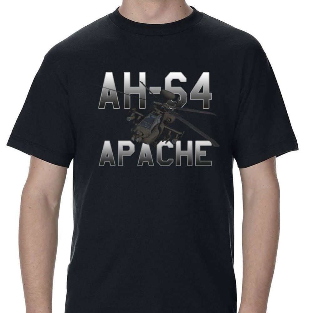 2018 New Brand Sales 100% Cotton T shirt Short Sleeve Custom Helicopter Ah-64 Apache Longbow Mens Tee Shirt