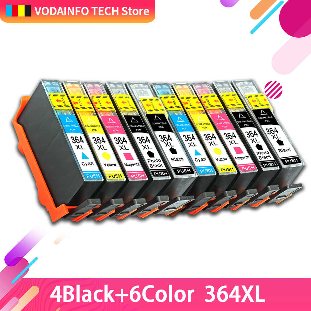 10 Pcs Tinta Printer Cartridge 364XL HP 364 XL untuk HP Photosmart 5510 5515 6510 7520 6520 5520 5524 B010a b109a B209a Deskjet 3070A