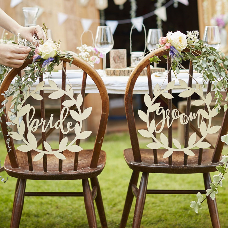 Wooden mr mrs wedding chair hanging signs for rustic country wooden mr mrs wedding chair hanging signs for rustic country wedding decoration garden style 2pcslot in party diy decorations from home garden on junglespirit Image collections