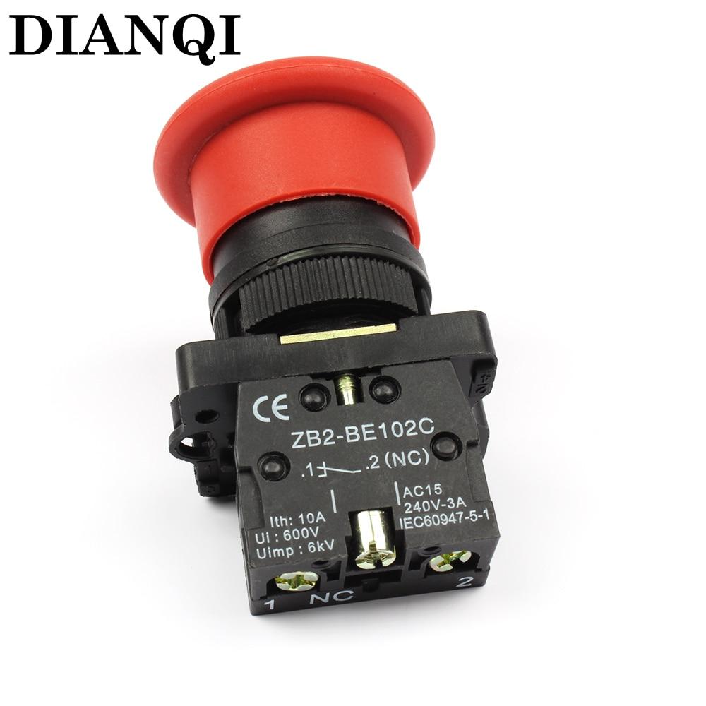 XB2 ec42 xb2-ec42 mushroom head pushbutton 40mm push button switch ,