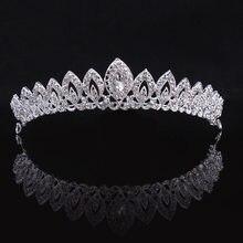 KMVEXO-Tiaras de aleación de cristal con forma de corazón para novia, corona con diamantes de imitación, diadema de graduación, corona, accesorios para el cabello de boda