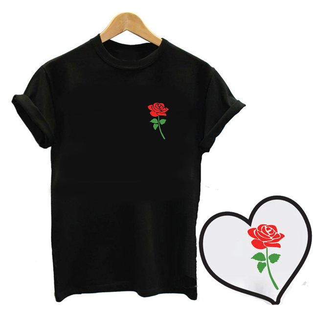 4d0a1c02e4bc Enjoythespirit Summer New Fashion 2 Color Tshirts Printing Graphic Red Rose  Green Leaves New Arrivals Lovely Women Soft Tops Tee