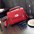 The European and American style vintage bag Contracted joker women's small handbag Pure color lock messenger bag for women