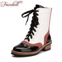 FACNDINLL Genuine Leather Women Autumn Winter Short Boots Med Heels Round Toe Lace Up Shoes Woman