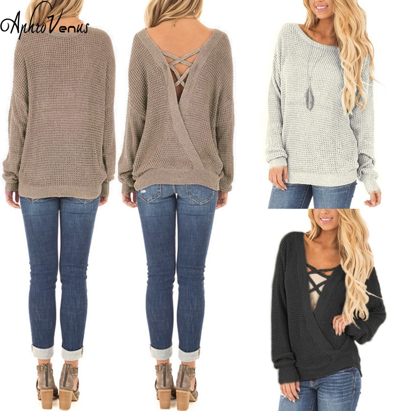 Sweater Low Cut Knit Full Sleeve Women Sexy Blouses Tops Autumn With V neck Loose Open BackBatwing Sleeve Pullovers Cross