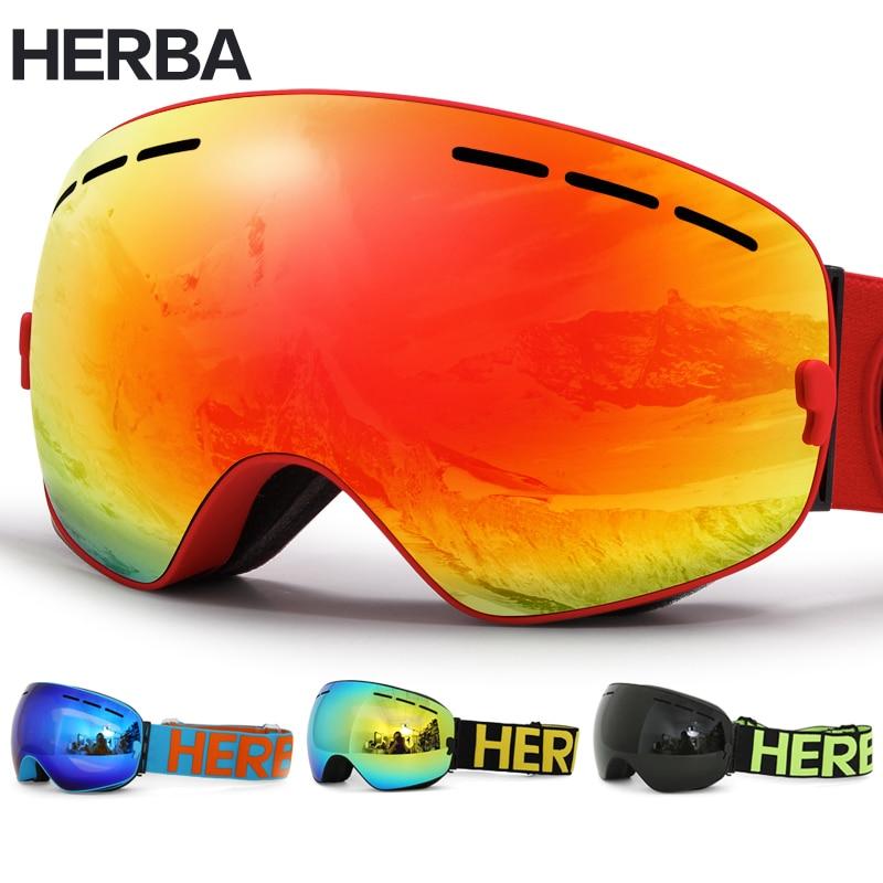 Nouveau HERBA marque ski lunettes Double Lentille UV400 Anti-brouillard Adulte Snowboard lunettes de ski Femmes Hommes Neige Lunettes