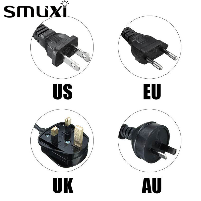 Smuxi 1/1.2/1.8/2M Cord Lamp Base Himalayan Salt Lamp Electric Power With ON/OFF Switch US/EU/UK/AU Plug Black/White