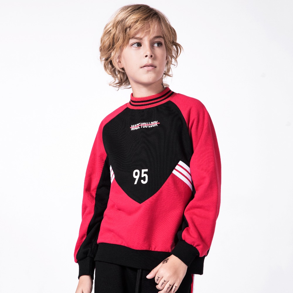 MD-093 Spring Autumn Boy Clothes Baby Casual Sweater Winter Top Girl Child Small High Collar Sweatshirts Kids Letter Print Tops letter print asymmetrical cami top