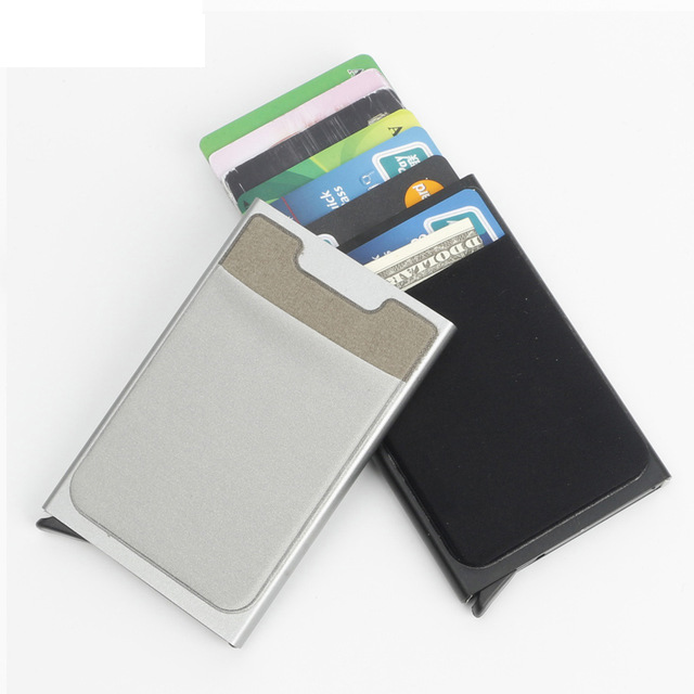 FashionUnisex Men Women RFID Busuness ID Credit Card Holder Aluminium Metal Creditcardhouder with 3M Elastic Lycra Holder Pocket