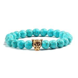 Image 2 - Gold Leopard Head Beads Buddha Bracelet Femme Homme Natural Stone Prayer Yoga Men Jewelry Ethnic Handmade Bracelets&Bangles Gift