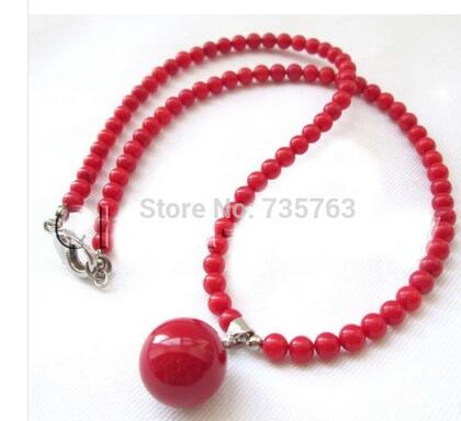 Bridal Women's Jewelry Natural 6mm Red Coral Rounds Beads Necklace 14mm Sea Shell Pearl Pendant AAA