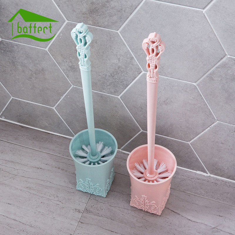 New Europe Carving Creative 1Set Toilet Brush Set Plastic Toilet Cleaning Brush Toilet Brush Plastic With Base Home Cleaner