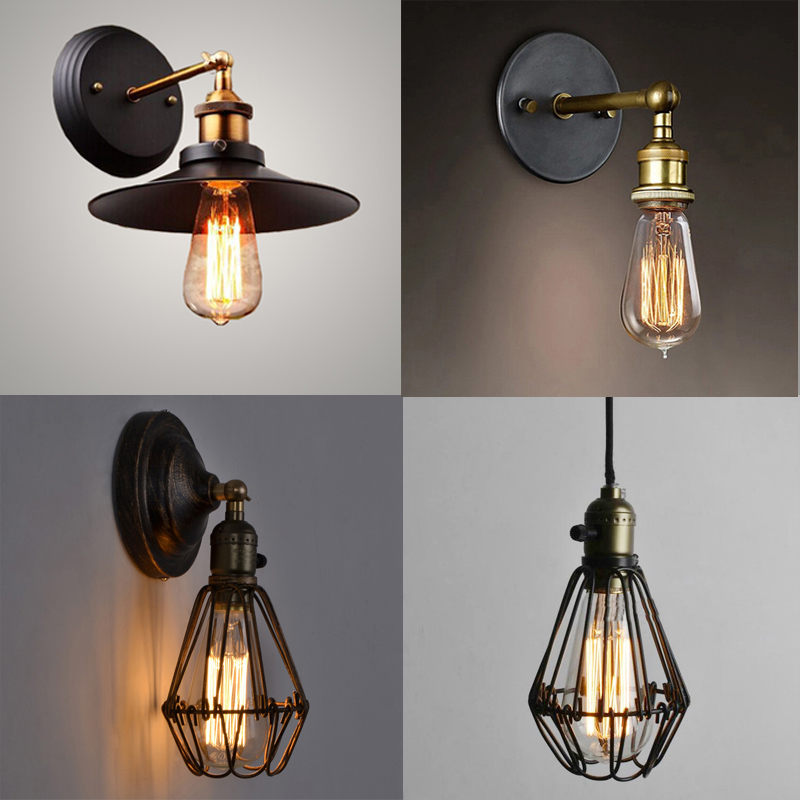 Free shipping retro wall lamp black cage lamps Vintage copper Edison lights umbrella iron brace bedroom