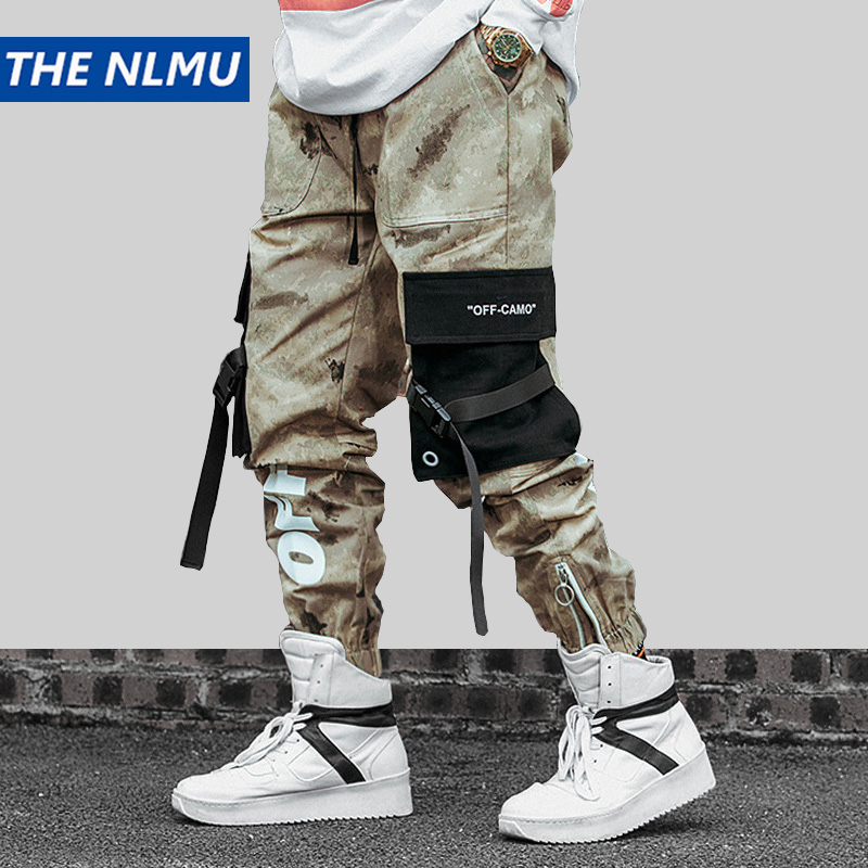 Hip Hip Streetwear Men's Camouflage Joggers Pants 2019 Men Ribbons Cotton Cargo Pant Trousers Elastic Waist Harem Pant Men WJ216(China)
