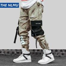 Pantalon de jogging de Camouflage hanche pour homme, Streetwear, pantalon Cargo en coton, à rubans, pantalon sarouel à taille élastique, 2019, WJ216