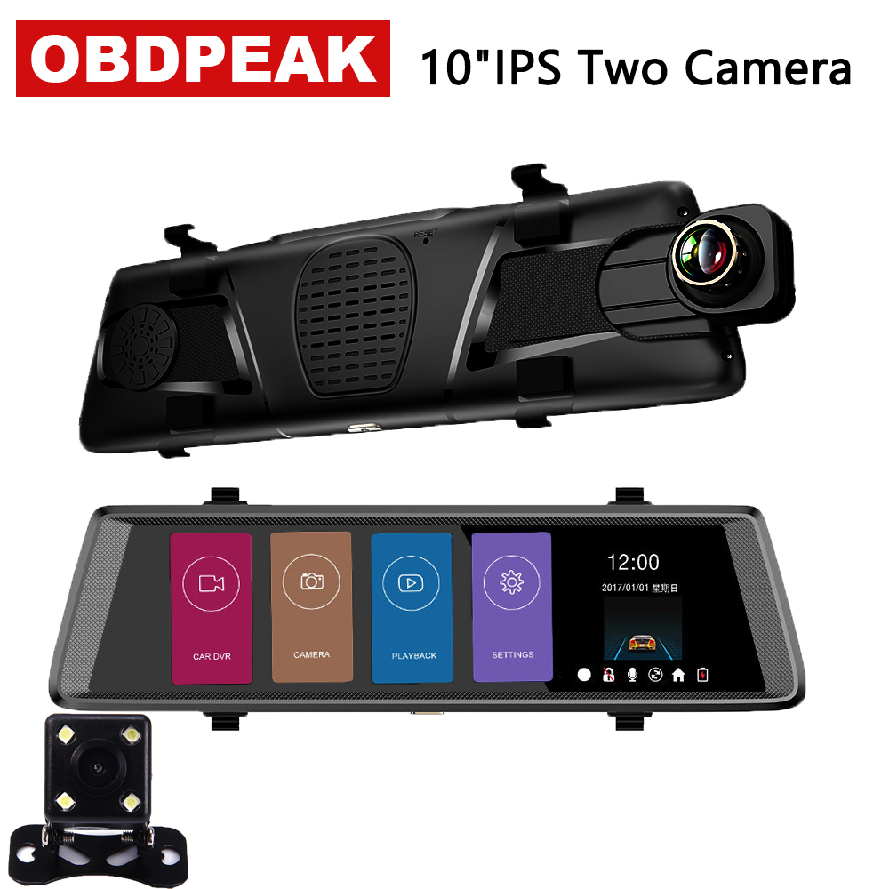 10 inch 1080P car rearview mirror Car Dvr Full IPS Touch 1080p car driving video recorder camera car reverse image dual lens