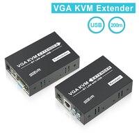 SGEYR VGA KVM Extender 200 м, 395ft VGA KVM Extender + USB по Cat5e/6 разгибателей с PS/2, поддержка 1080 P 3D клавиатура Мышь K/M USB