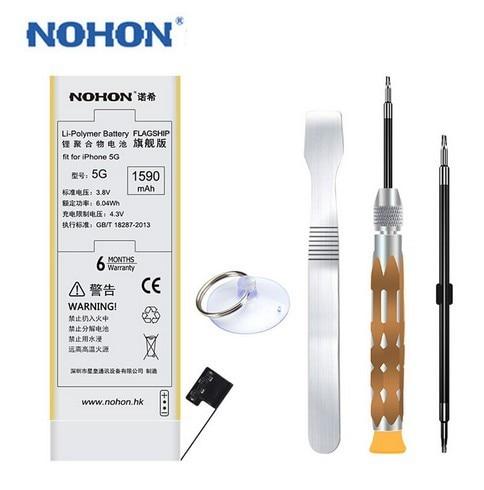100% Original New NOHON Battery For Apple iPhone 5 5G High Capacity 1590mAh For iPhone5 Batteries Free Repair Machine Tools