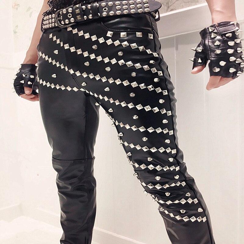 Leather Pants Casual Pants Men Slim Joggers Motorcycle Night Club Singer Dj Vintage Punk Rock Rivets Hip-hop Stage Costume