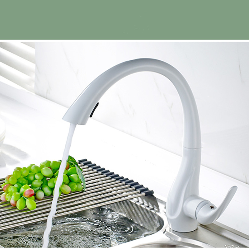LIUYUE Kitchen Faucets Black/White Brass Swan Type Pull Out Kitchen Faucet Button To Switch Cleaning 360 Rotate Sink Mixer Taps