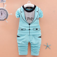 Cotton Baby Kleding Casual Autumn 2016 New Baby Boys Clothing Sets Long Sleeve Printing Baby Jongen Clothes Suit with Tie B121