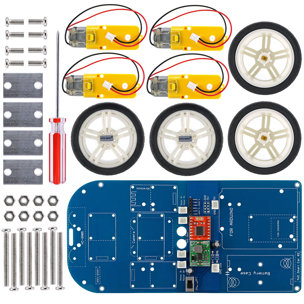 OPEN-SMART 4WD Wireless IR Remote Control Rubber Wheel Gear Motor Smart Car Kit with Tutorial for Arduino UNO R3 Nano Mega2560