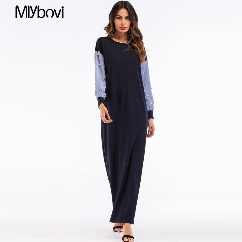 Biru Kaftan untuk Wanita Renda Lengan Panjang Gaun Maxi Patchwork Abaya  Gaun Muslim Gamis Hijab Arab Ibadah Doa Pakaian di Dresses dari Pakaian  Wanita ... 06fee91cc7
