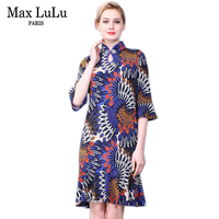 Max LuLu Otoño Estilo Chino de Lujo Vestidos de Partido de Las Mujeres Del Collar Del Soporte de Impresión Señoras de La Manera Vestido de Gasa Ropa de Talla grande